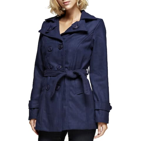 NE PEOPLE Womens Classic Double Breasted Pea Coat With Belt [NEWJ910]