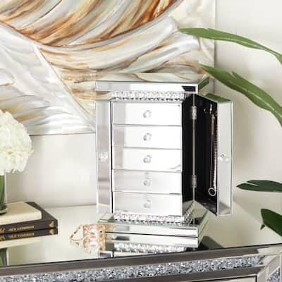 Silver MDF Glam Jewelry Box - 11 x 8 x 16