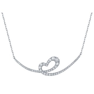 Prism Jewel 0 46Ct Round G H SI1 Natural Diamond Heart Shaped Twisted Valentine Necklace