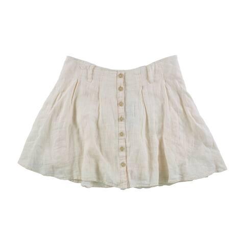 Free People Womens Daze Away Linen Skort Skirt, off-white, 12