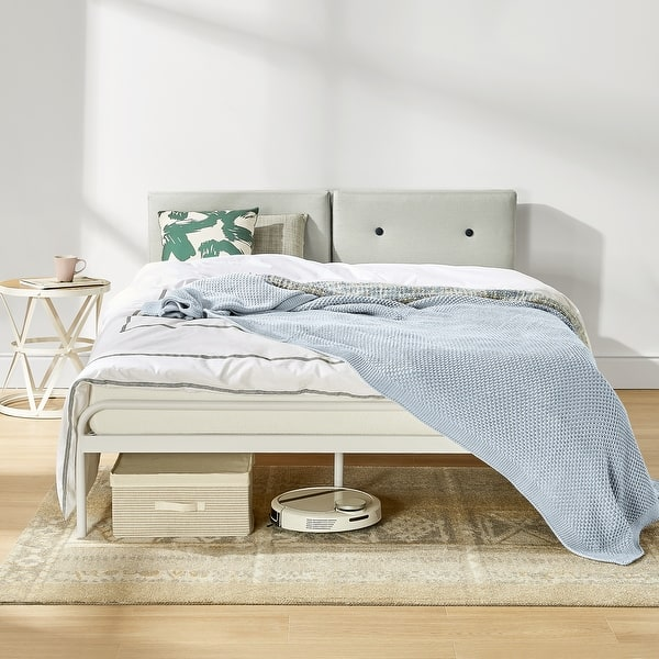 Maggie Metal Platform Bed With Upholstered Cushion Headboard Steel Slats Easy Assembly In Sky Grey On Sale Overstock 31950382