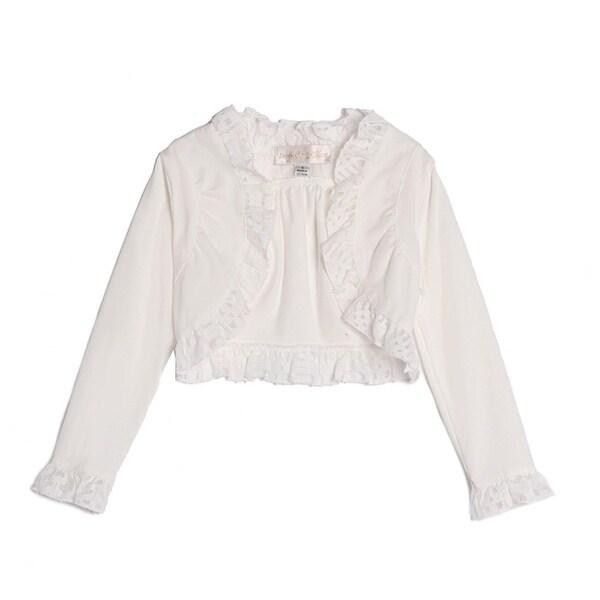4dbca282 Isobella & Chloe Little Girls White Long Sleeve Ruffled Lace Bolero