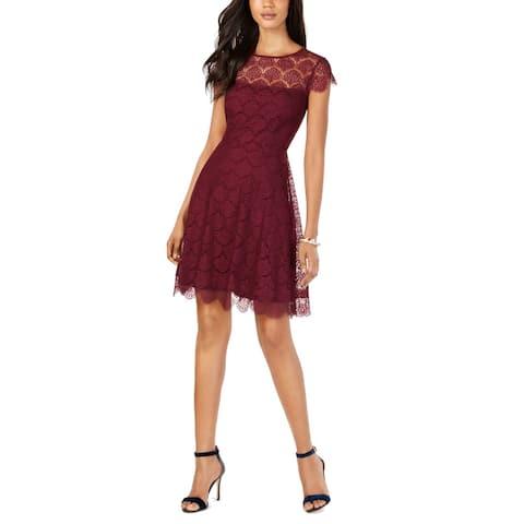 Kensie Women's Sheath Dress Merlot Red Size 4 Lace Crewneck Solid