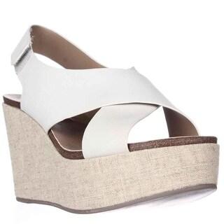 STEVEN by Steve Madden Genesis Wedge Criss-Cross Sandals, White Leather