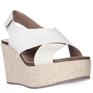 STEVEN by Steve Madden Genesis Wedge Criss-Cross Sandals - White Leather