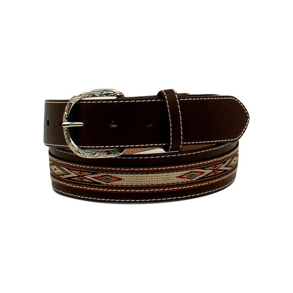 Nocona Western Belt Men Ribbon Overlay Top Hand Scroll Brown