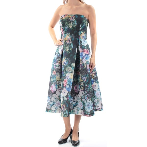 7ddd26032a Shop CALVIN KLEIN Womens Green Zippered Floral Strapless Midi Fit + Flare  Cocktail Dress Size  6 - Free Shipping Today - Overstock - 21311773