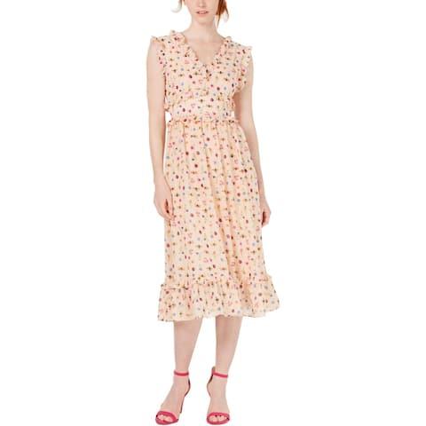 Betsey Johnson Womens Bugs Midi Dress Printed Flounce - Bare Essential Multi