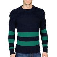 Diesel Mens Kapua Wool Blend Crewneck Sweater X-Large XL Navy, Retail