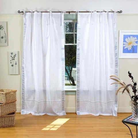 White Silver Tie Top Sheer Sari Curtain / Drape / Panel - Pair