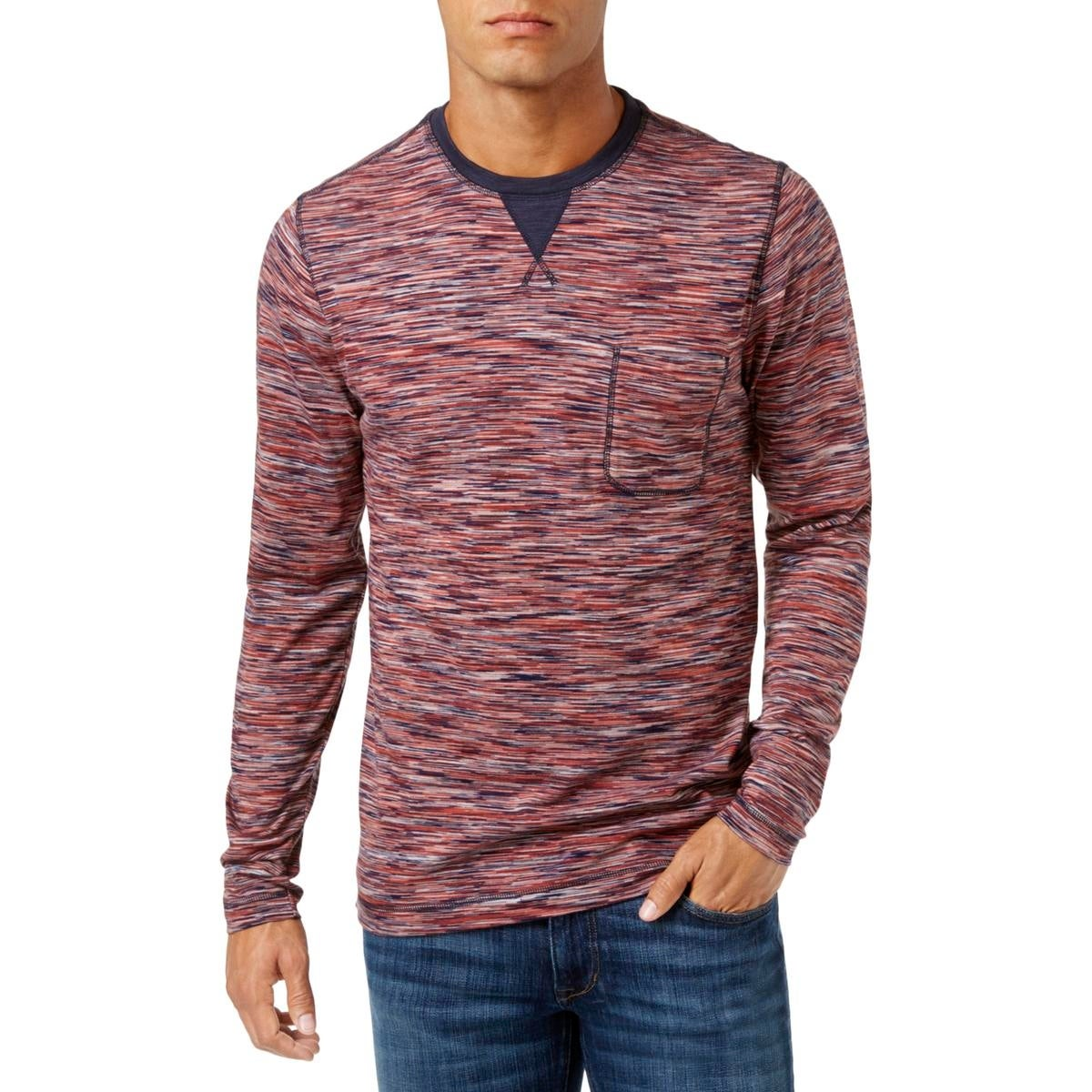 Weatherproof Mens Knit Space Dye Henley Shirt