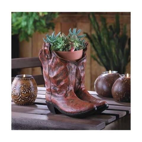 Old West Cowboy Boots Garden Planter - Brown