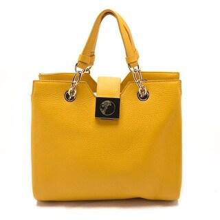 Versace Women Pebbled Leather Top Handle Handbag Satchel Yellow - S