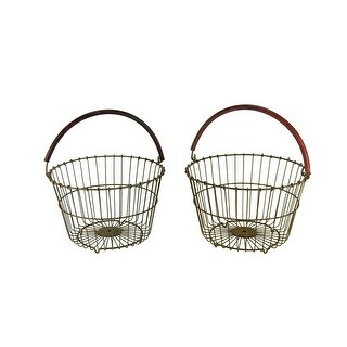 Rustic Metal Wire Bushel Basket with Red Handle Set of 2 - 9.5 X 14.5 X 14.5 inches