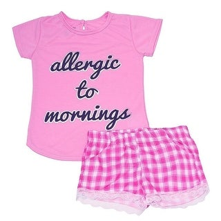 "Little Girls Pink ""Allergic To Mornings"" Checkered Print 2 Pc Pajama Set"
