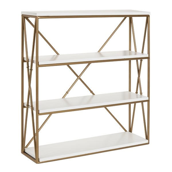 Kate and Laurel Ascencio 4-Layer Wood and Metal Wall Shelves. Opens flyout.