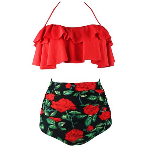 Cocoship Red Womens Size 3X Plus Popover Floral Bikini Swimwear