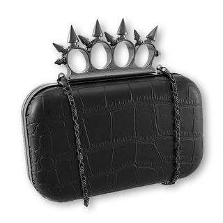 Croc Textured Clutch Purse with Gunmetal Knuckle Duster Handle - Red