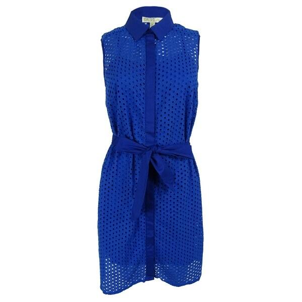 73b7f9dfb4c Shop Spense Women s Sleeveless Eyelet Belted Shirt Dress - Free ...