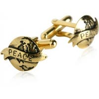 Gold World Peace Activist Cufflinks
