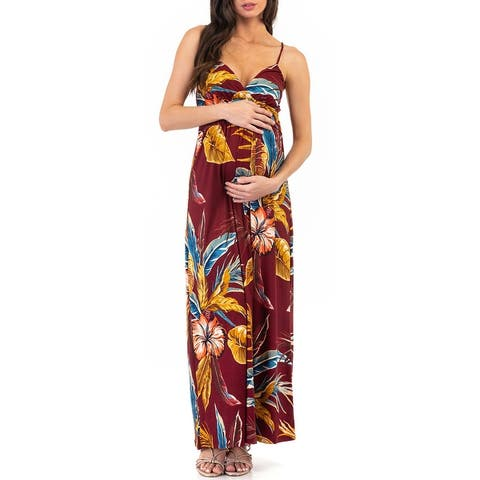 Women's Wrap Ruched Maternity Dress with Adjustable Straps For Casual Wear or Baby Shower
