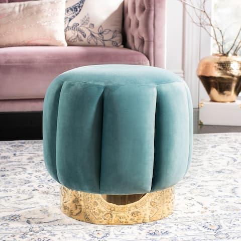 SAFAVIEH Couture Maxine Channel Tufted Otttoman - Seafoam / Gold