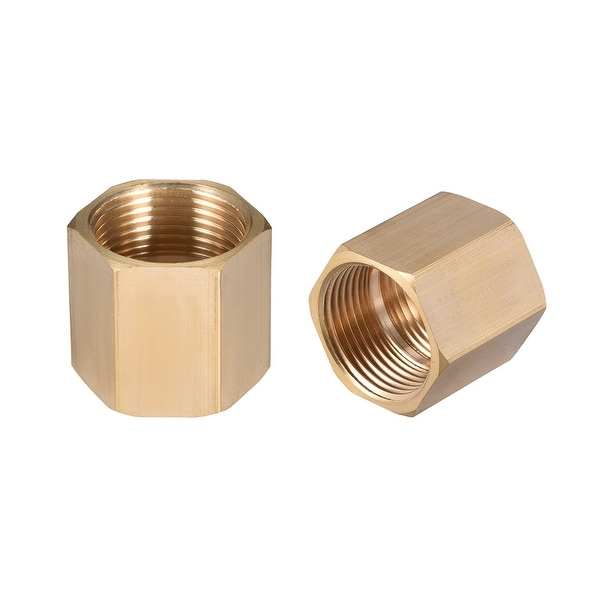 "Brass Pipe Fitting,3/4"" G Female Thread Straight Brass Hex Rod Pipe Fitting 2pcs - 3/4"" G Female 2pcs"