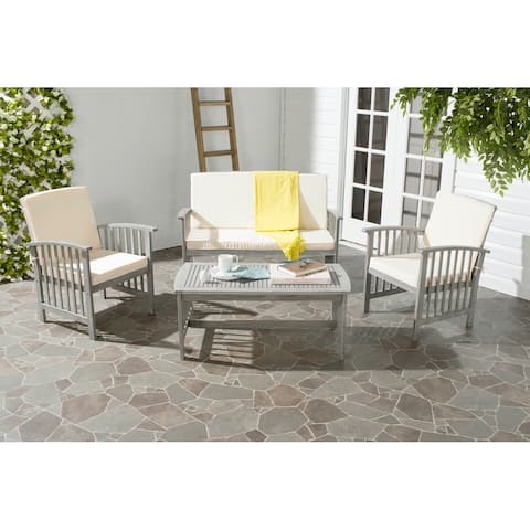 Safavieh Outdoor Living Rocklin Grey Wash Acacia Wood 4-piece Furniture Set
