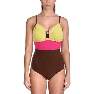 It Figures! Womens Colorblock Shaping One-Piece Swimsuit