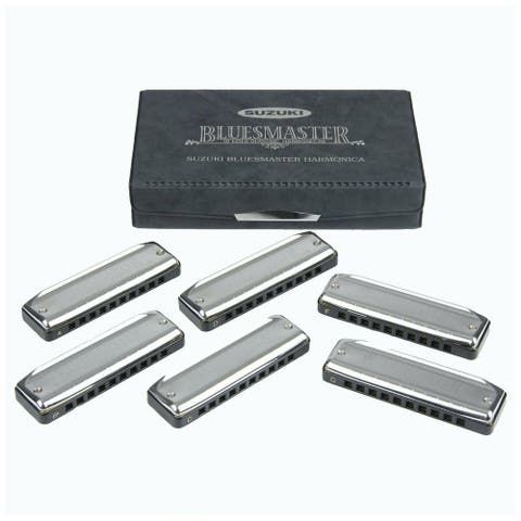 Suzuki 6 Piece Bluesmaster Set Pro 10-Hole Diatonic Harmonica MR-250-S