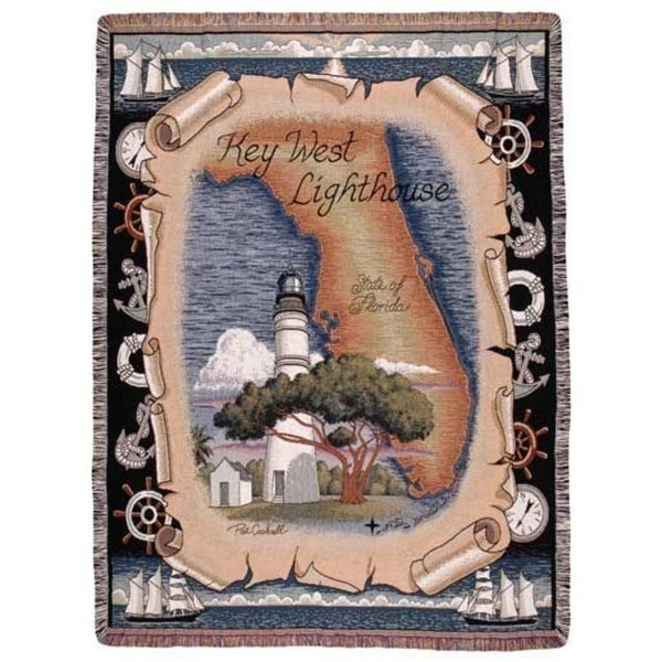 "Key West Florida Lighthouse Tapestry Throw Blanket 50"" x 60"""