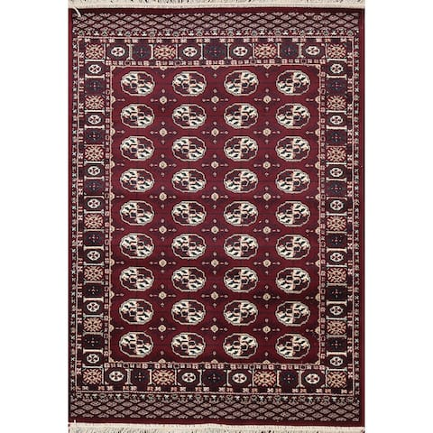 """Red Geometric Traditional Balouch Persian Wool Area Rug Foyer Carpet - 3'4"""" x 5'2"""""""