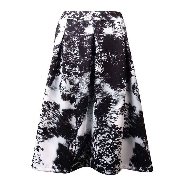 INC International Concepts Women's A-Line Pleated Print Ponte Skirt - BLACK/WHITE