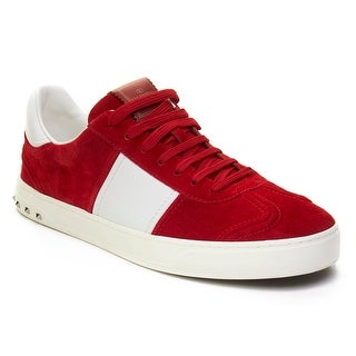Valentino Men's Suede Leather Sneaker Shoes White Red