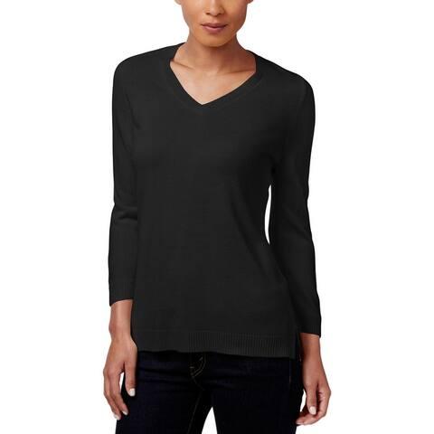 Karen Scott Womens Petites Pullover Sweater Knit V-Neck