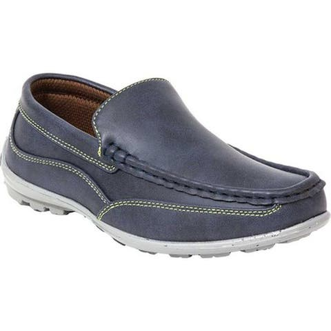 Deer Stags Boys' Booster Moc Toe Loafer Navy Simulated Leather