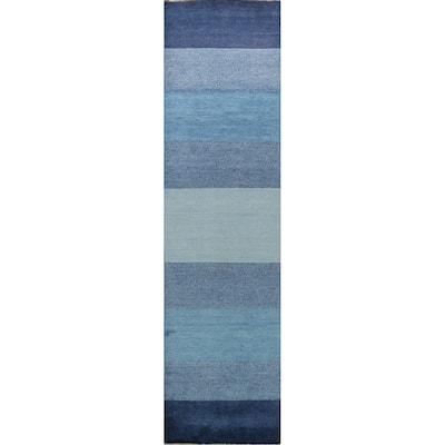 "Modern Striped Gabbeh Kashkoli Oriental Runner Rug Wool Handmade - 2'6"" x 11'7"""