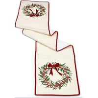 Pack of 2 Decorative Red and Green with Trim Holly Wreath Polyester Runner
