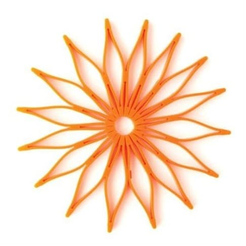 HIC 16814 Spice Ratchet Blossom Multi-Use Silicone Trivet, Orange