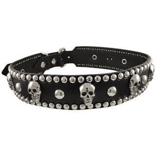 Leather Skull Studded Dog Collar