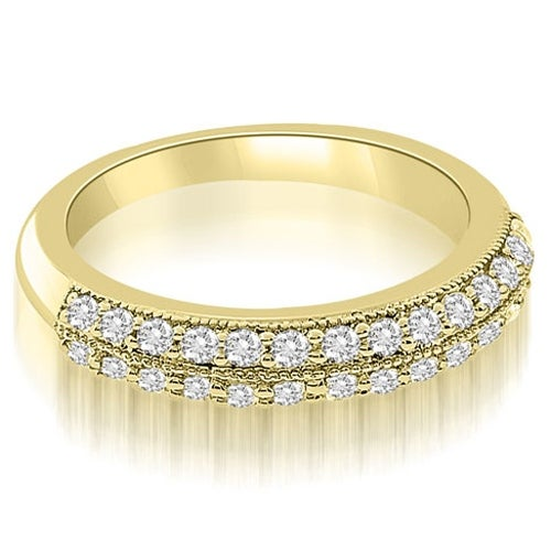 0.70 cttw. 14K Yellow Gold Antique Two-Row Round Cut Diamond Wedding Ring