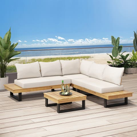 Sebastian Outdoor Acacia Wood 5 Seater Sofa Sectional by Christopher Knight Home