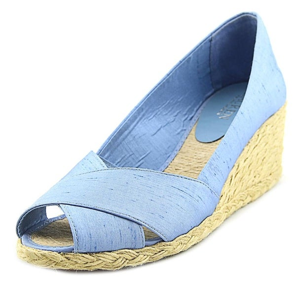 9976f94e2fd Shop Lauren Ralph Lauren Cecilia Women Open Toe Canvas Blue Wedge ...