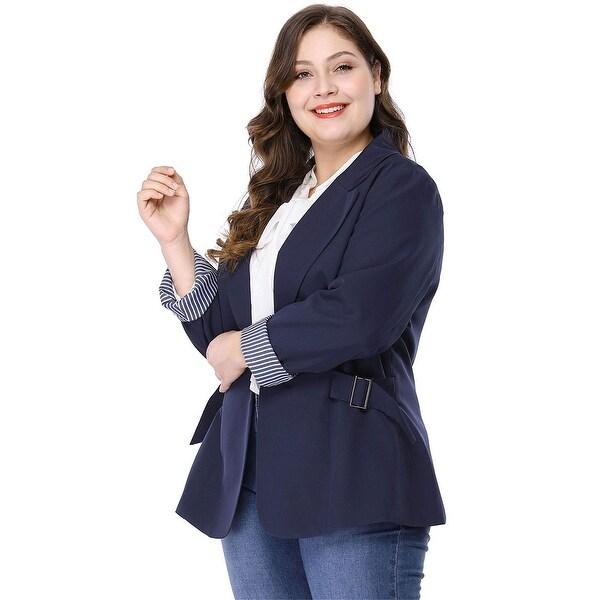 Women's Plus Size Contrast Stripe Cuff Notched Lapel Blazer - Blue