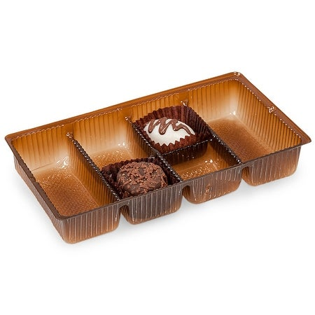 """Pack Of 100, 6.25 X 3.5 X 1"""" Medium Rectangle Solid Chocolate Brown Candy Trays W/6 Sections"""