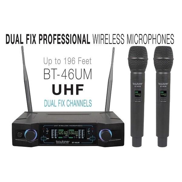 Boytone BT-46UM UHF Digital Channel Wireless Microphone System - Dual Fixed Frequency Wireless Mic Receiver, 2 Handheld