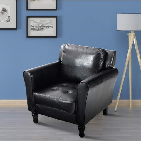 PHI VILLA Accent PU Leather Sofa Armchair, Wingback Lounge Chair, Black / Brown
