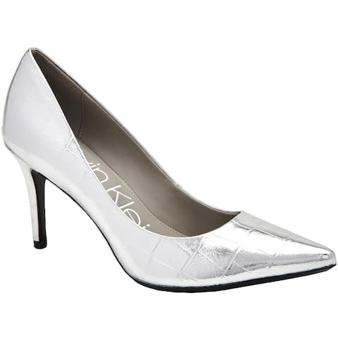 Calvin Klein Womens Gayle Pumps Faux Leather Pointed Toe