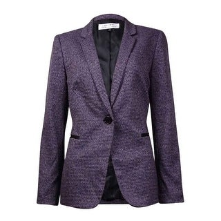 Tahari Women's Notched Lapel Houndstooth Blazer