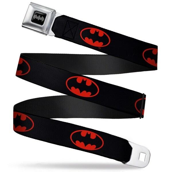 Batman Black Silver Batman Shield Black Fluorescent Red Webbing Seatbelt Seatbelt Belt